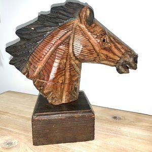 Horse bust hand carved vintage woodwork equestrian